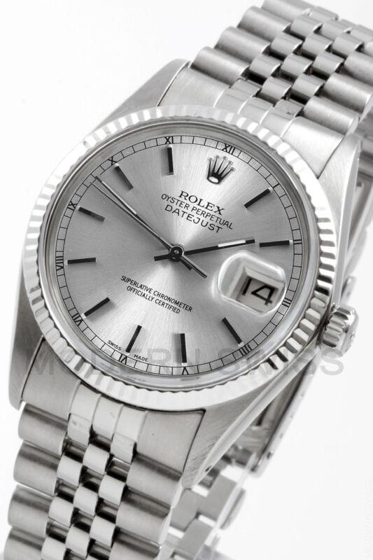 Rolex Mens Datejust Steel Silver Index Gold Fluted Jubilee 16014 Quickset