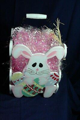 Four Bunny White Wooden Easter Basket - Wooden Easter Baskets