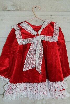 Vintage Little Precious Infant Red Velvet Holiday Dress, 3T, Ruffles Lace USA