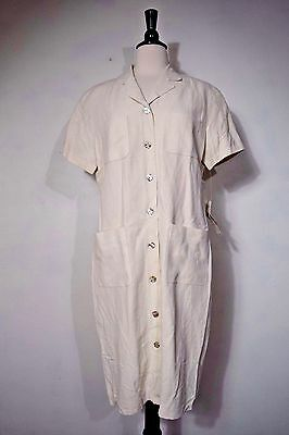 Evan Picone Dress Breakfast at Tiffany Lt Oatmeal Button Down Women Size 10 NWT