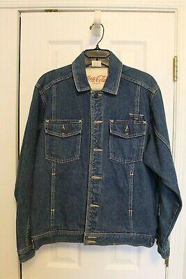 Vintage 80's Original COCA COLA Blue Denim Jean Jacket Size LG Slightly Used