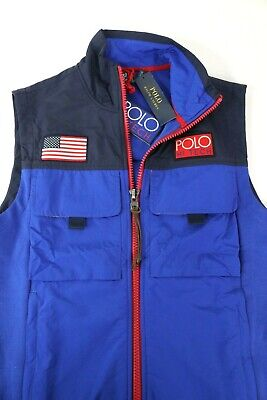Polo Ralph Lauren $198 Hi Tech Vest Jacket Blue Full Zip 1992 USA Flag Mens M