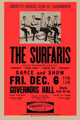 Surf: The Surfaris  at Sacramento Rare Concert Poster 1963 Wide Format 24x36