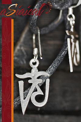 OM AUM SILBER Ohrringe OHRSCHMUCK Ohrhänger Buddha Tibet Schmuck 925-SILBER