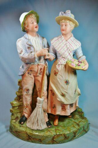 ANTIQUE GERMAN HEUBACH VERY LARGE BOY AND GIRL FIGURINE - CIRCA 1890 - 1900