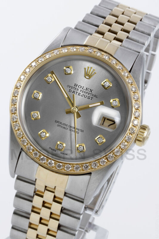 Rolex Mens Datejust 18k Gold & Steel Silver Diamond Dial & Bezel Jubilee 2yr