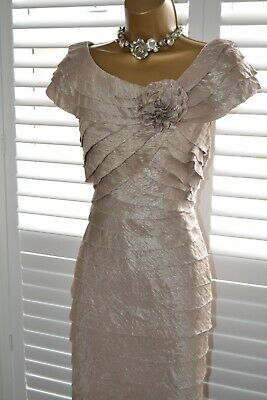 ~ LONDON TIMES ~ Champagne Shutter Dress Size UK 18 Mother of the Bride