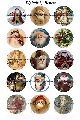 Christmas Santa B 1   Circles  Bottle Cap Images   2 45  5 50    Free Shipping