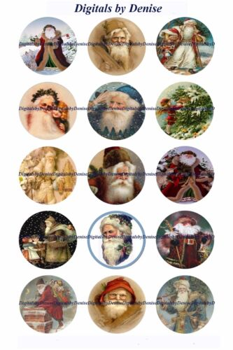 "CHRISTMAS SANTA B 1 "" CIRCLES  BOTTLE CAP IMAGES. $2.45-$5.50  **FREE SHIPPING**"