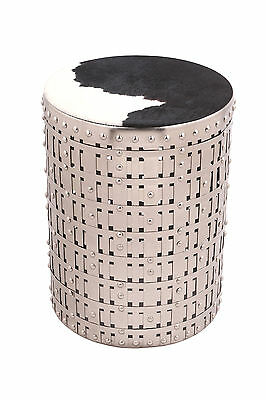 COWGIRL White Round Accent Table with Cow Hide Fitted Top