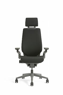 New Steelcase Gesture Chair With Adjustable Headrest Wrap Black Frame Licorice