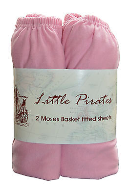 2 x Baby Crib/ Moses Basket Jersey Fitted Sheet 100% Cotton Pink 30x75cm