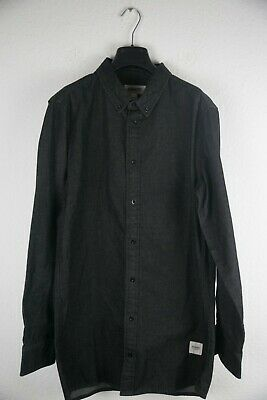 Button-down-jeans (WEMOTO Herren Denim Hemd Lang Long Button-Down Jeanshemd  Black Schwarz Größe M )