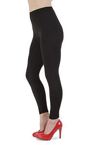 Leggings-Neri-Lungo-Cotone-Morbido-Nero-Legging-nero-Size-8-UK