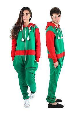 New Unisex Santa Elf Xmas Onesie Mens Womens All In One Novelty Christmas Suit (Elf Onesie For Men)
