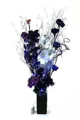 Plum And Silver Wedding (plum and silver display in wood vase with LED lights weddings & Xmas)