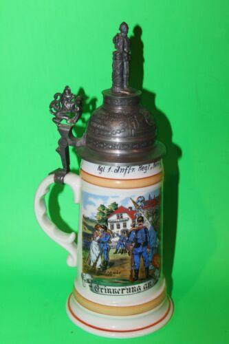 1902  - 1904 German Regimental Beer Stein w/Lithograph - LADY ON BOTTOM