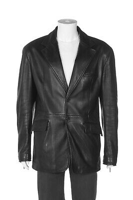 GIANNI VERSACE COUTURE Black Leather Jacket Men's IT 56 US XL / 46 Blazer Coat