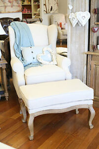 French Provincial Linen Wing Back Arm Chair with Ottoman