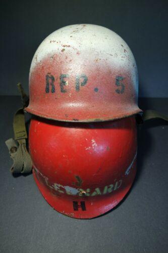 Red US Army M1 US Navy USN Fire Brigade/ Damage Control Helmet REP + liner