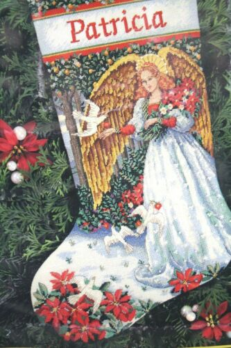 Dimensions Angel of Serenity Christmas Needlepoint Stocking Kit 9110 Gold