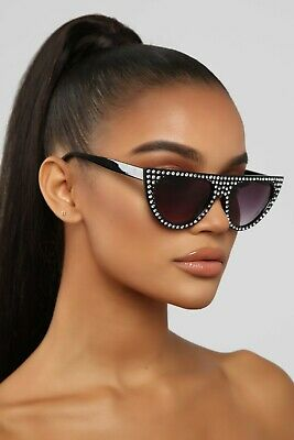 Classic Retro Cat Eye Style SUNGLASSES Flat Top Thick Black Frame Bling (Bling Cat Eye Sunglasses)