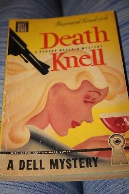 vintage sleaze paperback book death nell 1943 noir mystery dell mapback