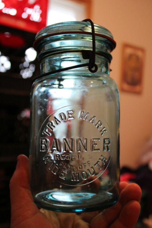 Antique 1 qt Blue (BANNER) Wide Mouth, Bail Mason Jar, Item # A - 1306