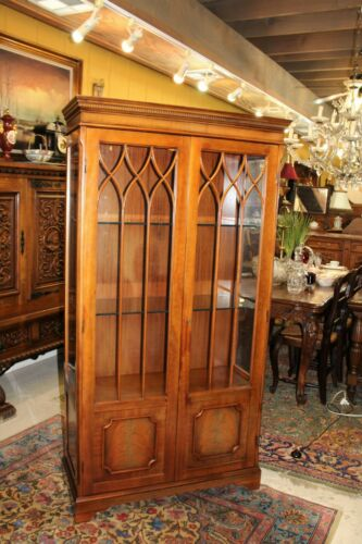 English Walnut Glass Door Display Cabinet / With 2 Glass Shelves & Light