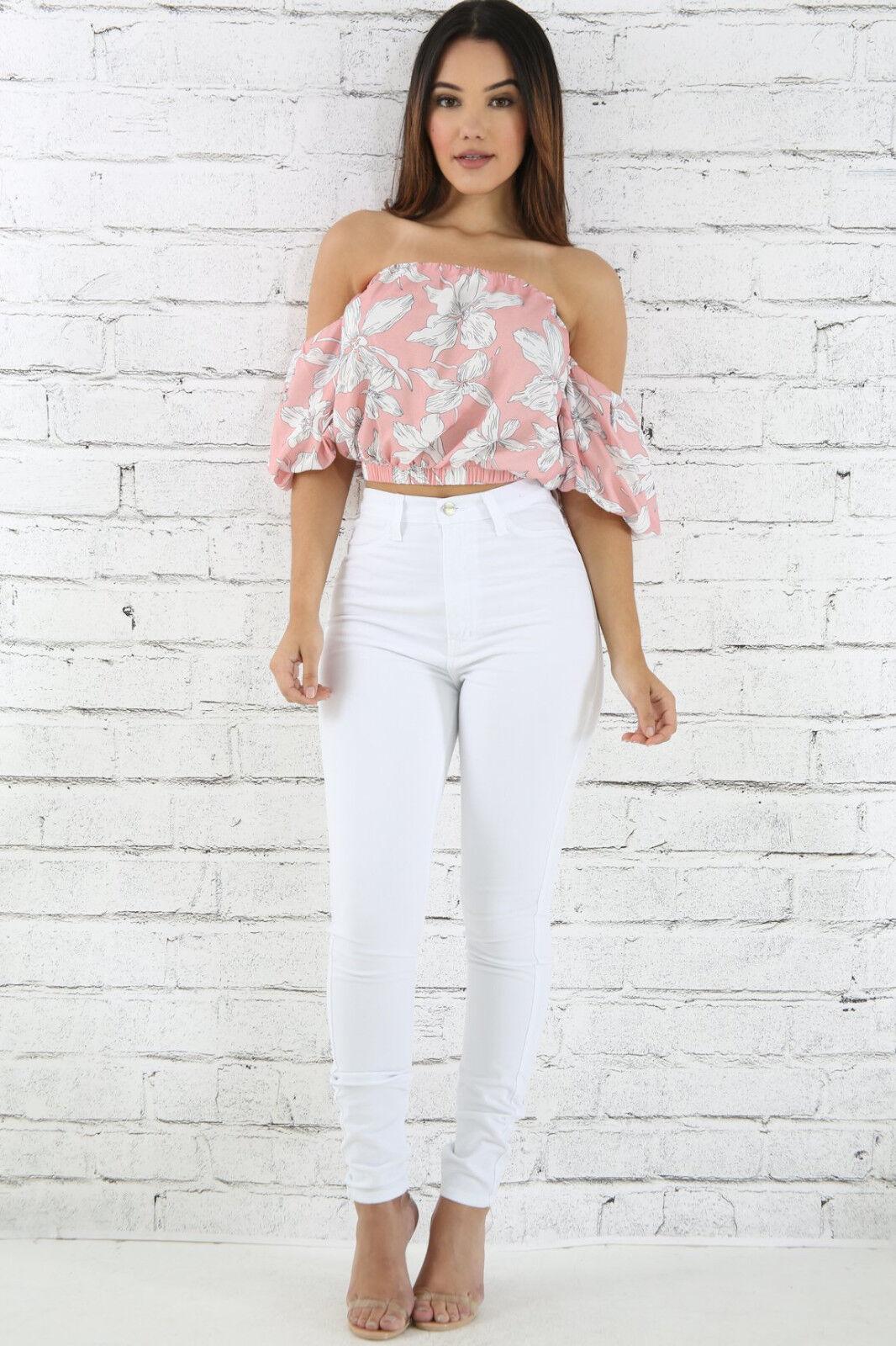 Vibrant White High Waist Skinny Jeans Long Soft Denim Pants