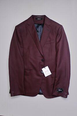 Z Zegna Micro-Check Slim Fit Sport Coat 40S Red Black Wool