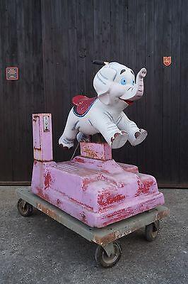 Vintage Kiddy Ride FAHRGESCHÄFT Dumbo Elefant KINDERKARUSSELL Schaukelautomat
