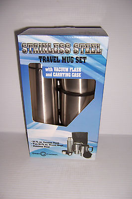 Green Canteen 16oz Stainless Steel Travel Mug Set W/ Vacuum Flask & Case NEW!, used for sale  Shipping to India