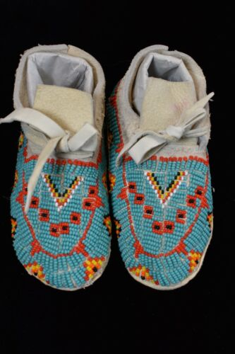 Native American Fully Beaded Moccasins Toddler Size Hard Sole