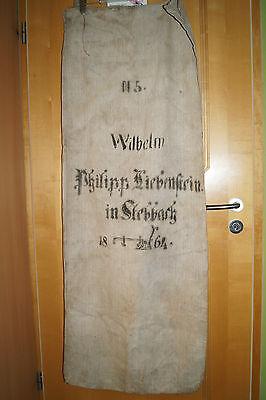alter antiker Leinen-Mehl-Getreide Sack Wilhelm Ph. Liebenstein Strebbach 1864