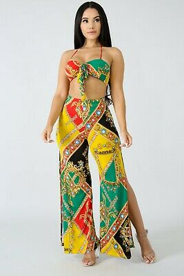 Green Cropped Pant Set (Jamaican Color Tribal Red Green Yellow Gems Halter Crop Palazzo Pants Set S M L )