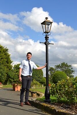 Ex Outdoor Lights - USED Ex-Display 3.25m Antique Brass Dorchester Garden Lamp Post and Lantern Set