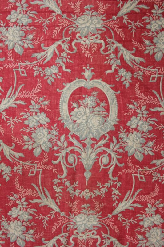 Rococo Fabric Red & Gray Antique English Block printed linen cotton c1850 toile