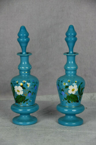 2 Antique Bristol Blue Milk Opaline Glass Decanters w Stoppers Hand Painted