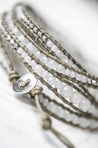 Tutti & Co. Jewellery Silver Wrap Leather Strand & beads cuff Bracelet, gift bag