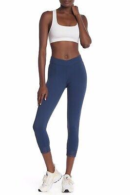 Zella S Laser Cut Leggings Blue Insignia Stretch Pants Elastic Waist Fitted Crop