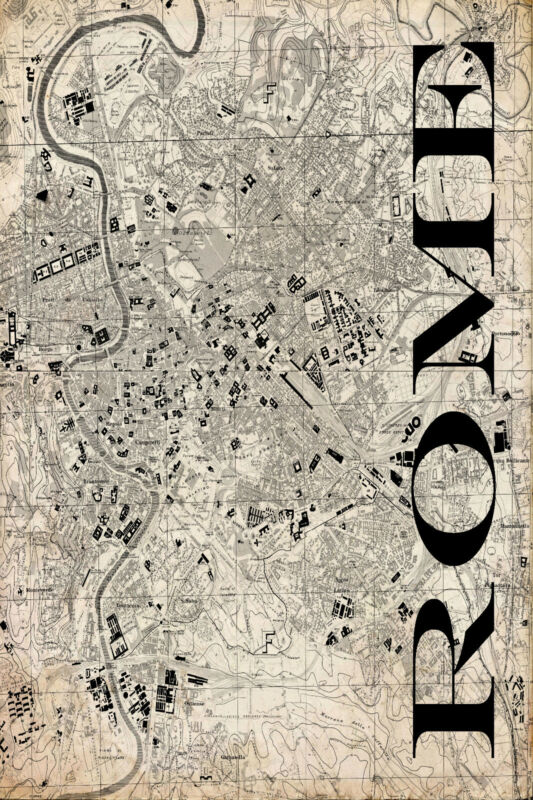 """Vintage Map of Rome 20"""" x 30:"""