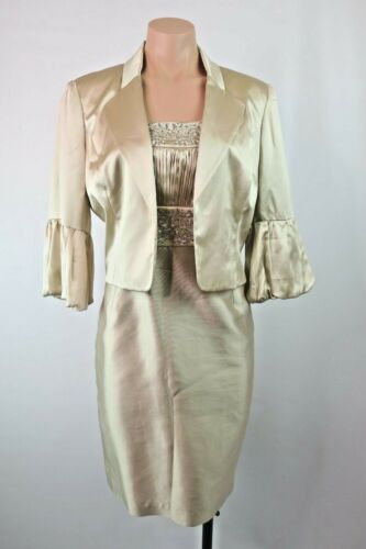 Adrianna Papell Champagne Sequin MOTHER OF THE BRIDE DRESS & JACKET sz 12 P SILK