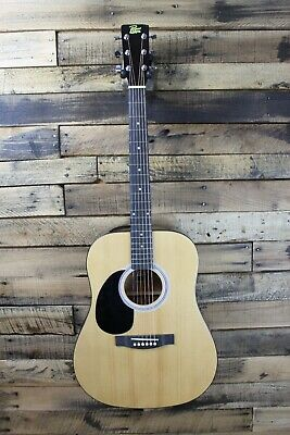 Rogue RG-624 Left-Handed Dreadnought Acoustic Guitar - Cracked Neck #R6225