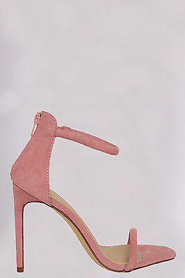 Simple Ankle Strap Open Toe Stiletto High Heels Sandals - Pink Blush - Size 10 High Heel Open Toe Heels