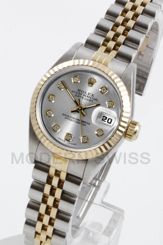 Rolex Ladies Datejust 18k Gold & Steel Silver Diamond Jubilee 69173 Quickset