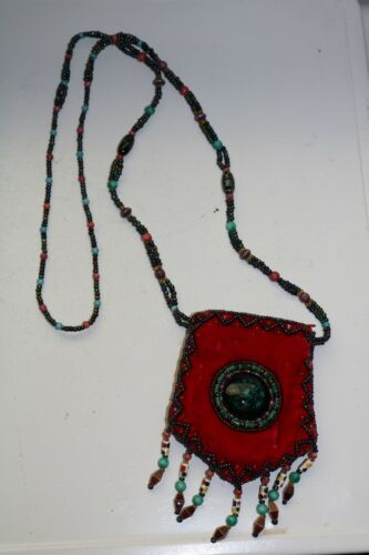 Purse Pouch Necklace - Made Of  Velvet Beads Stone - Zippered - Native American