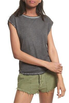 New FREE PEOPLE Distressed Gray Baby Layering Tee Shirt Top Size S  Distressed Baby Tee