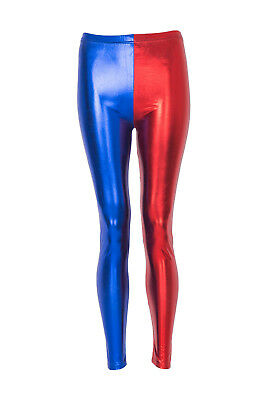 Damen Truppe Party Kostüm Leggings Rot Blau Damen - Rote Leggings Halloween Kostüm