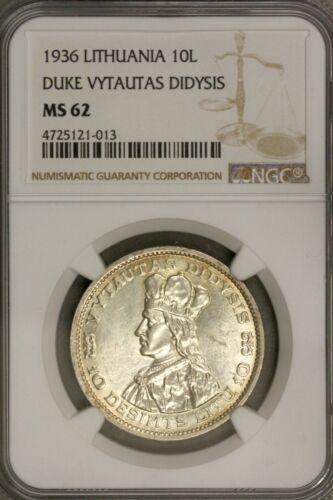 Lithuania 1936 Duke Vytautas Didysis 10 Lital  NGC MS 62